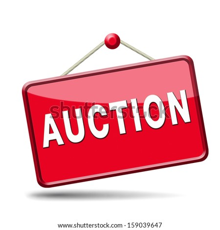 bid online on internet auction for cars real estate or houses - stock photo