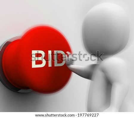 Bid Pressed Showing Auction Bidding And Reserve - stock photo