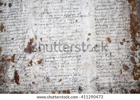 Biertan, Transylvania, Romania - 25 July, 2015: . Scriptures fragments in an old saxon village with fortified church in Transylvania - stock photo