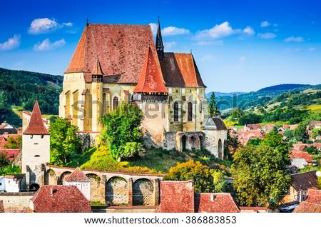 Biertan, Transylvania. Touristic Saxon village with fortified church in Romania - stock photo