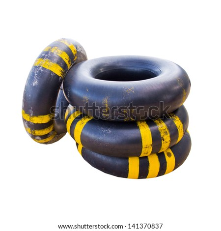 big air ring for help swimming the ocean isolate - stock photo