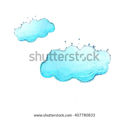 Big and small clouds made of water splashes isolated on white - stock photo