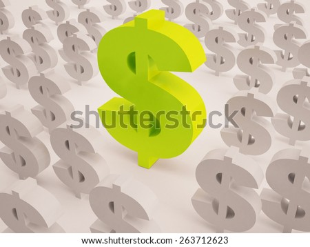 big and small dollar sign text in 3d - stock photo
