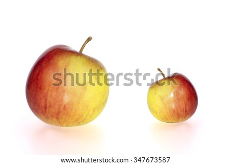 big and small juicy red and yellow apples against a white background with clipping path - stock photo