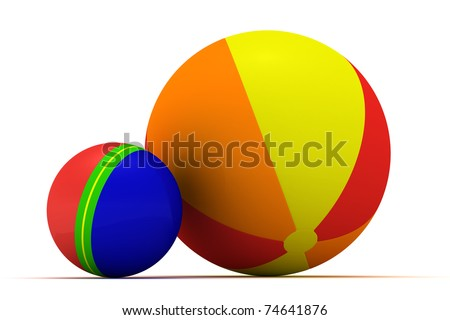 Big and small multicolored balls isolated - stock photo