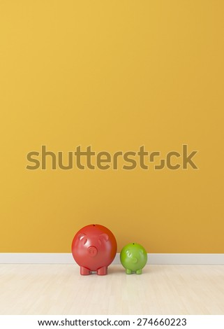 big and small piggy on empty room, finance concept - stock photo