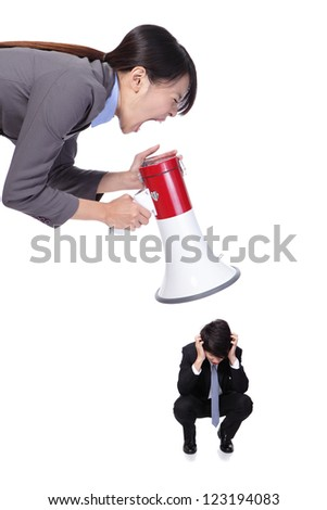 big angry boss (business woman) with megaphone yelling to small Staff (business man) , isolated on white background, asian model - stock photo