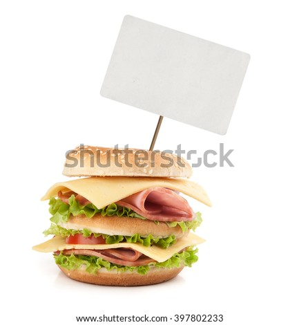 Big appetizing fast food sandwich with blank price tag. Isolated - stock photo