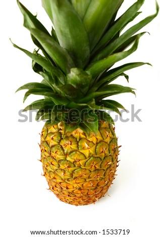 Big appetizing pineapple isolated on white background - stock photo