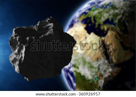 Big Asteroid Closing to the Earth Planet. Apocalypse Concept. Elements of this image furnished by NASA. (Focus on the Asteroid) - stock photo