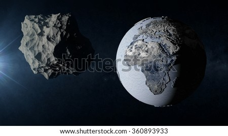 Big Asteroid Closing to the Frozen Earth Planet. Apocalypse Concept. Elements of this image furnished by NASA - stock photo