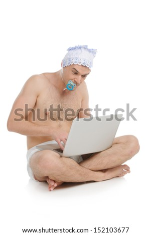 Big Baby Infant Adult Man In Diaper Working At The