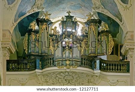 big baroque organ - stock photo