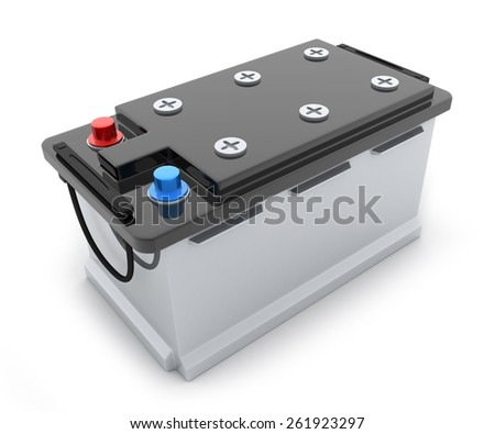 Big battery truck on white background (done in 3d) - stock photo