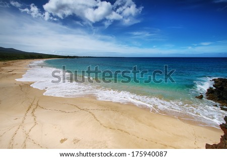 Big beach of Makena beach State park, Maui, Hawaii - stock photo