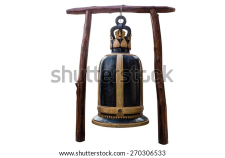 Big bell in Temple of thailand isolate white background with clippingpath - stock photo