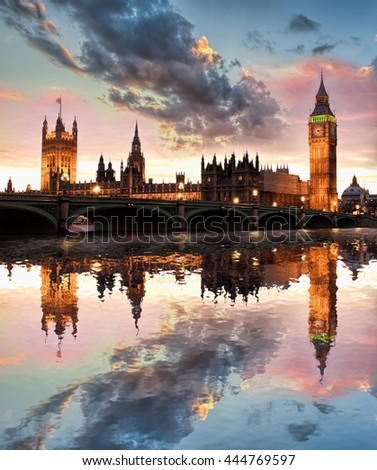 Big Ben against colorful sunset in London, England, UK - stock photo