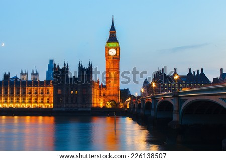 Big Ben and House of Parliament at night, London UK - stock photo