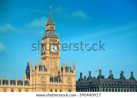 Big Ben and House of Parliament in London. - stock photo