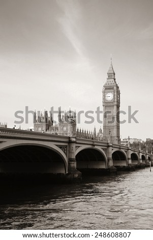 Big Ben and House of Parliament in London panorama over Thames River. - stock photo