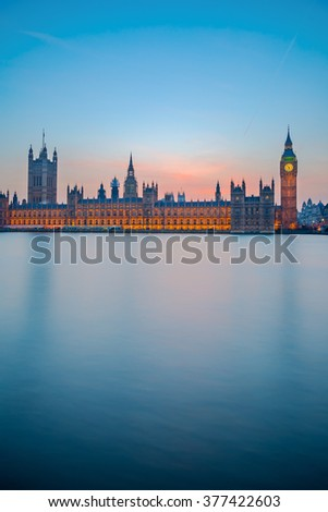 Big Ben and Houses of parliament at dusk in London - stock photo