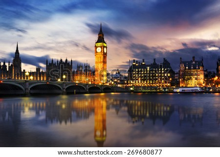 Big Ben and Houses of parliament at dusk, London, UK - stock photo