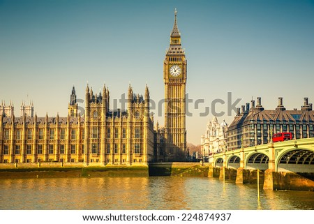 Big Ben and Houses of parliament at sunny morning - stock photo