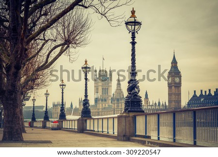 Big Ben and Houses of parliament in London, UK - stock photo