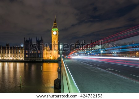 Big Ben and Houses of Parliament with traffic, London, UK - stock photo