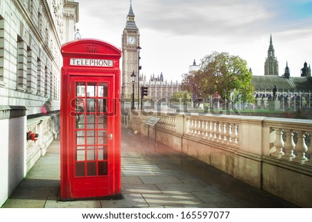 Big ben and red phone cabine in London - stock photo