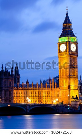 Big Ben and River Thames  International Landmark of London England United Kingdom at Dusk - stock photo