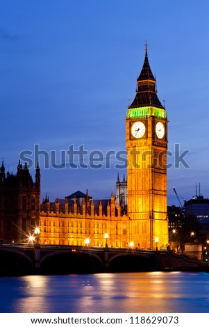 Big Ben and River Thames  International Landmark of London England United Kingdom at Dusk - stock photo