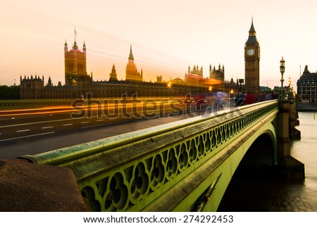 Big Ben and the Houses of Parliament, or the Palace of Westminster, in London, England - stock photo