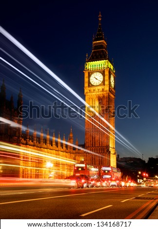 Big Ben and the Houses of Parliament with Traffic Light Trail - stock photo