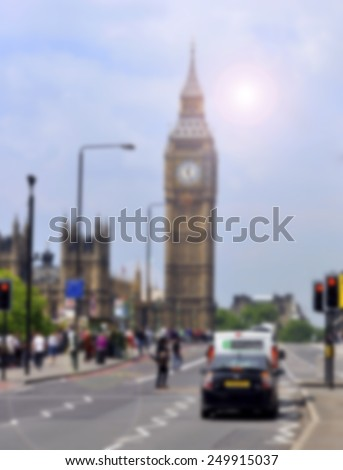 Big Ben and the main street in London - Fuzzy background for designers - stock photo