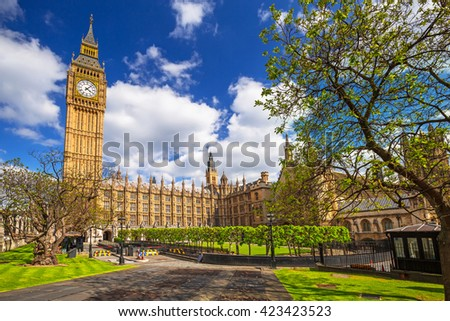 Big Ben and the Palace of Westminster, landmark of London, UK - stock photo