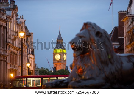 Big Ben and Trafalgar square, London, - stock photo