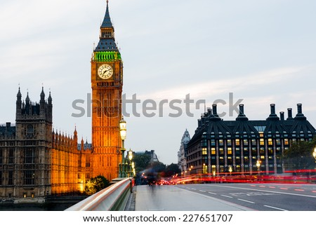 big ben and Westminister bridge at night, London, United Kingdom - stock photo