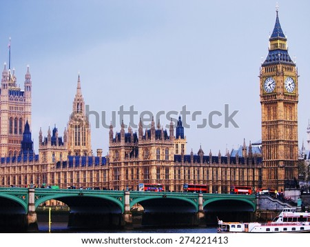 Big Ben and Westminster Abbey photographed from across  the River Thames. - stock photo