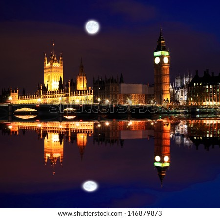 Big Ben and Westminster at night in London - stock photo