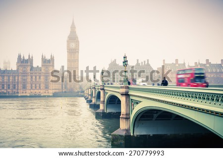 Big Ben and westminster bridge at foogy morning in London - stock photo