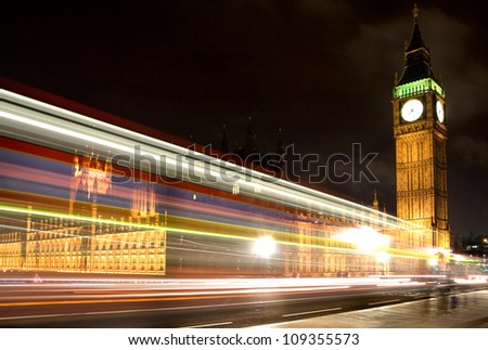 Big ben and Westminster Bridge at Night. London - stock photo