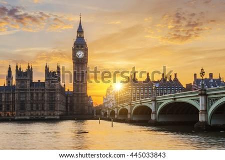 Big Ben and Westminster Bridge at sunset, London, UK - stock photo