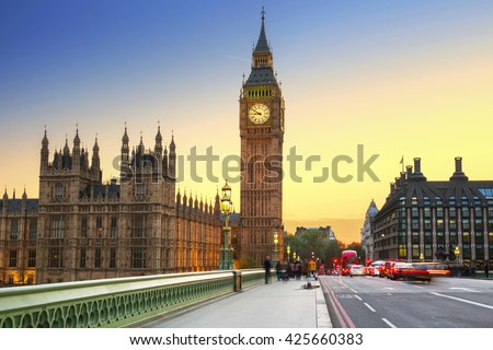 Big Ben and Westminster Bridge in London at sunset, UK - stock photo