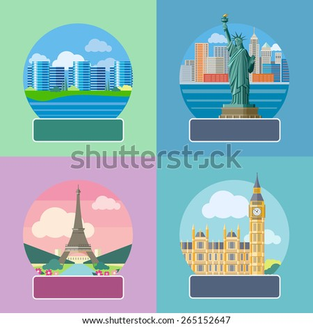 Big Ben and Westminster Bridge, London, UK. Office building in Silicon Valley. Statue of Liberty, New York City. Eiffel tower, Paris. France. Posters concept in cartoon style with text. Raster version - stock photo