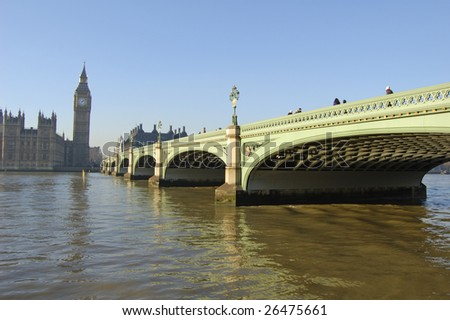 Big Ben and Westminster Bridge over the River Thames in London, England - stock photo