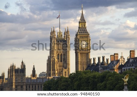 Big Ben and Westminster parliament in the evening sun in London, UK - stock photo
