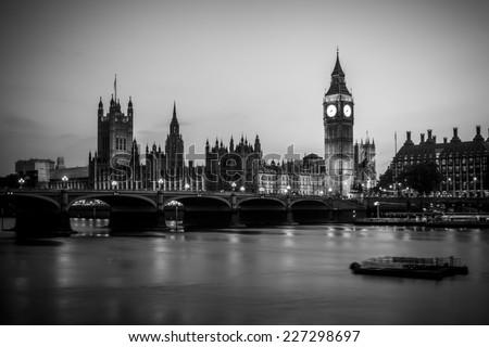 Big ben at night, black and white - stock photo