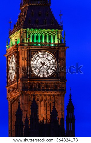 Big Ben at night close up, Westminster, London, UK - stock photo