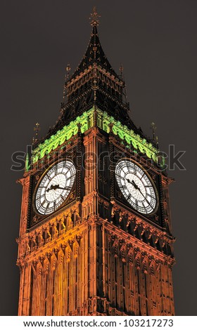 Big Ben at night London - stock photo